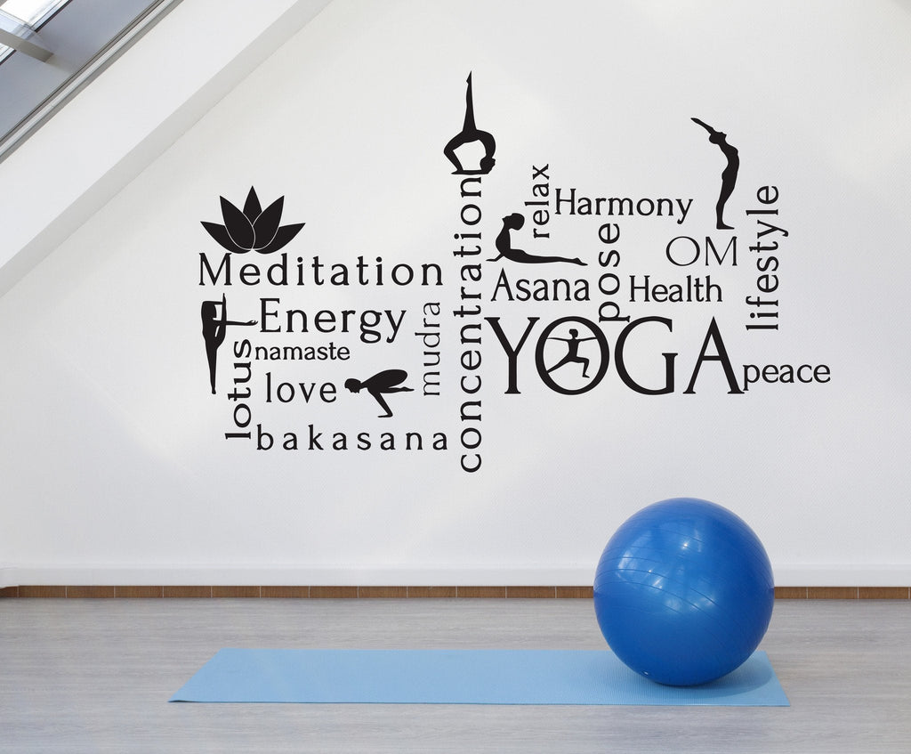 Large Wall Vinyl Decal Meditation Energy Mudra Yoga World Cloud Harmony Unique Gift z4507