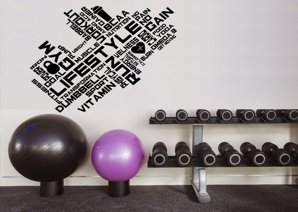 Large Wall Decal World Cloud  Lifestyle Sport Gym Vitamin Cardio Unique Gift z4509