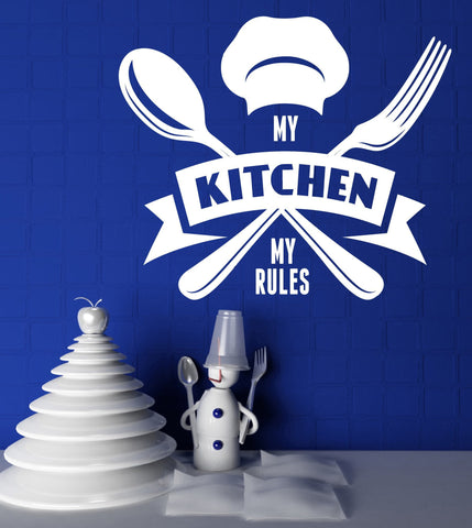 Large Wall Vinyl Decal Chief Motto My Kitchen My Rules z4522