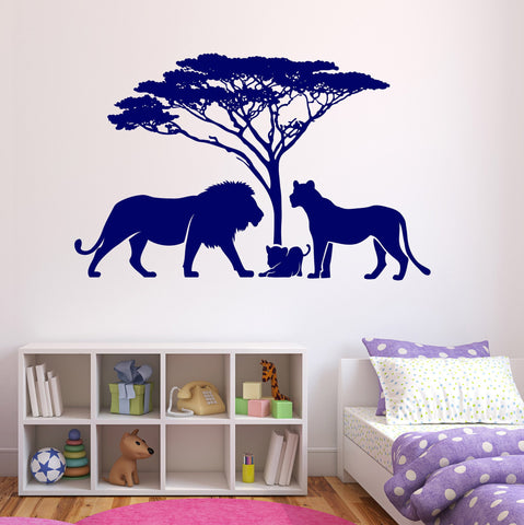 Large Wall Vinyl Decal African Landscape Happy Lions Family Kids Decor z4523