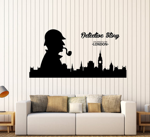 Large Wall Vinyl Decal London Sherlock Holmes Detective Story z4527