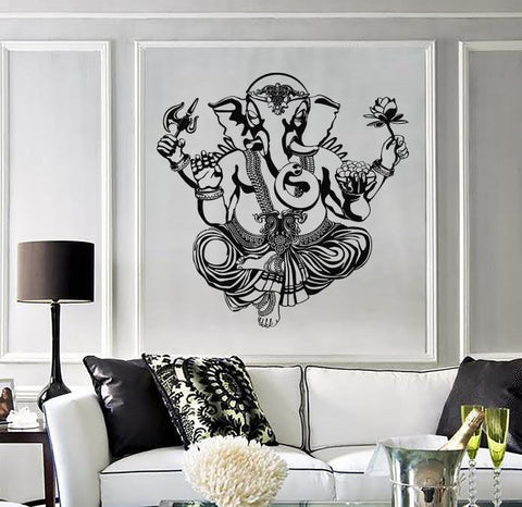 Large Vinyl Wall Decal God Ganesha Indian Deity Head Elephant (z4542)