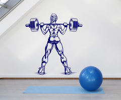 Large Vinyl Decal Muscle Woman Gym Fitness Bodybuilding Sports Unique Gift z4554