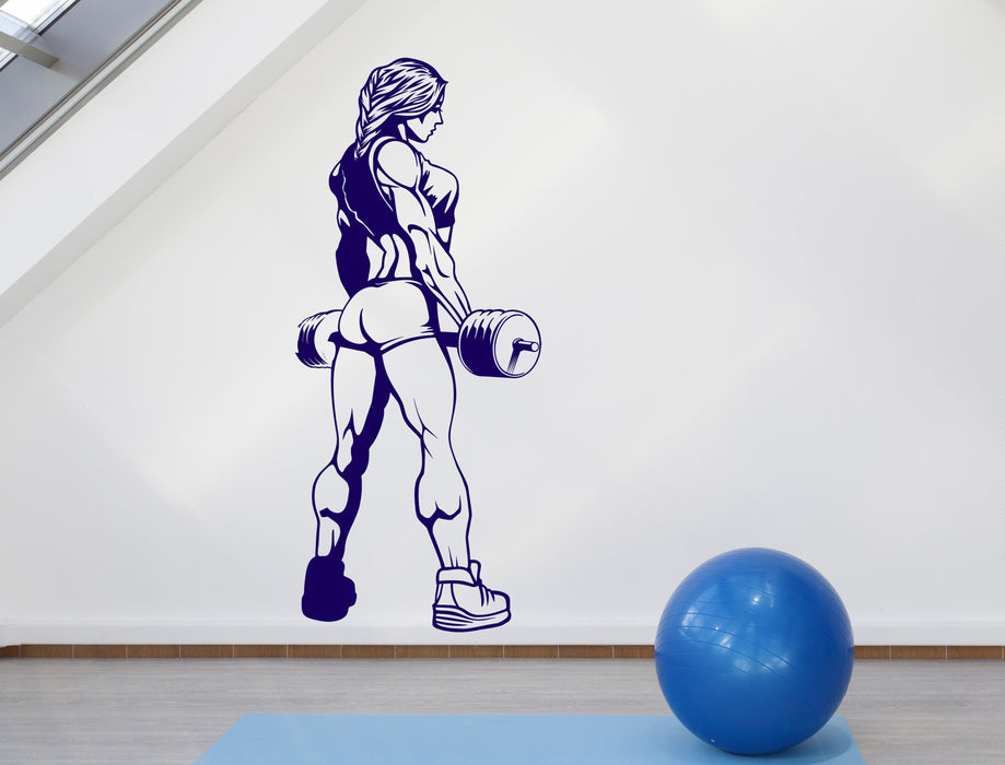 Large Wall Decal Sexy Girl Muscle Gym Fitness Bodybuilding Sports Unique Gift (z4555)
