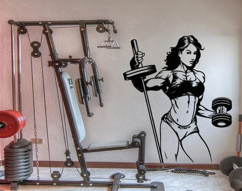 Large Wall Decal Sexy Girl Muscle Gym Fitness Bodybuilding Sports Unique Gift (z4556)