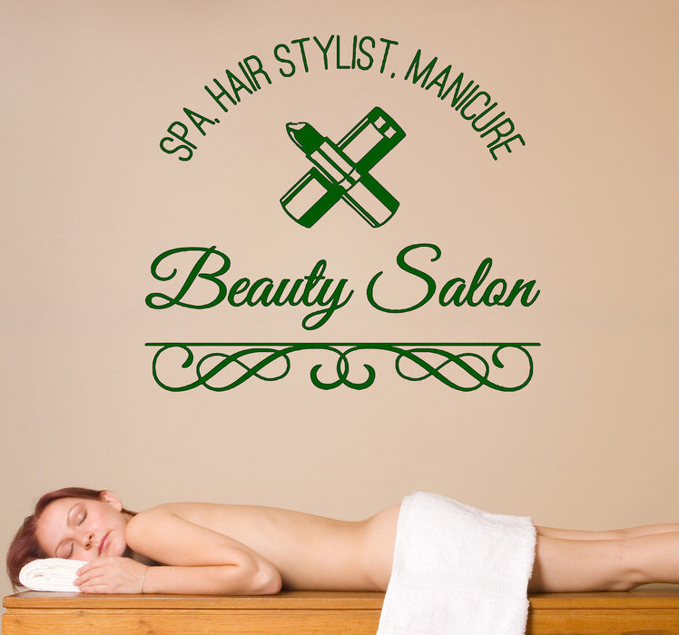 Large Wall Vinyl Decal Spa Hair Manicure Beauty Salon Decor Unique Gift z4575