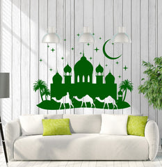Large Wall Stickers Mosque Muslim Islamic Arabic City Decor  (z4593)