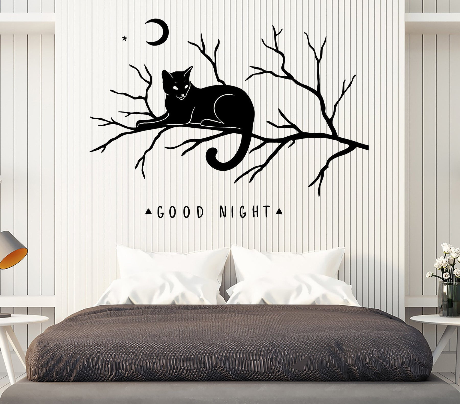 . Wall Vinyl Decal Words Good Night Cat on a Branch Moon Bedroom Decor Unique  Gift z4598
