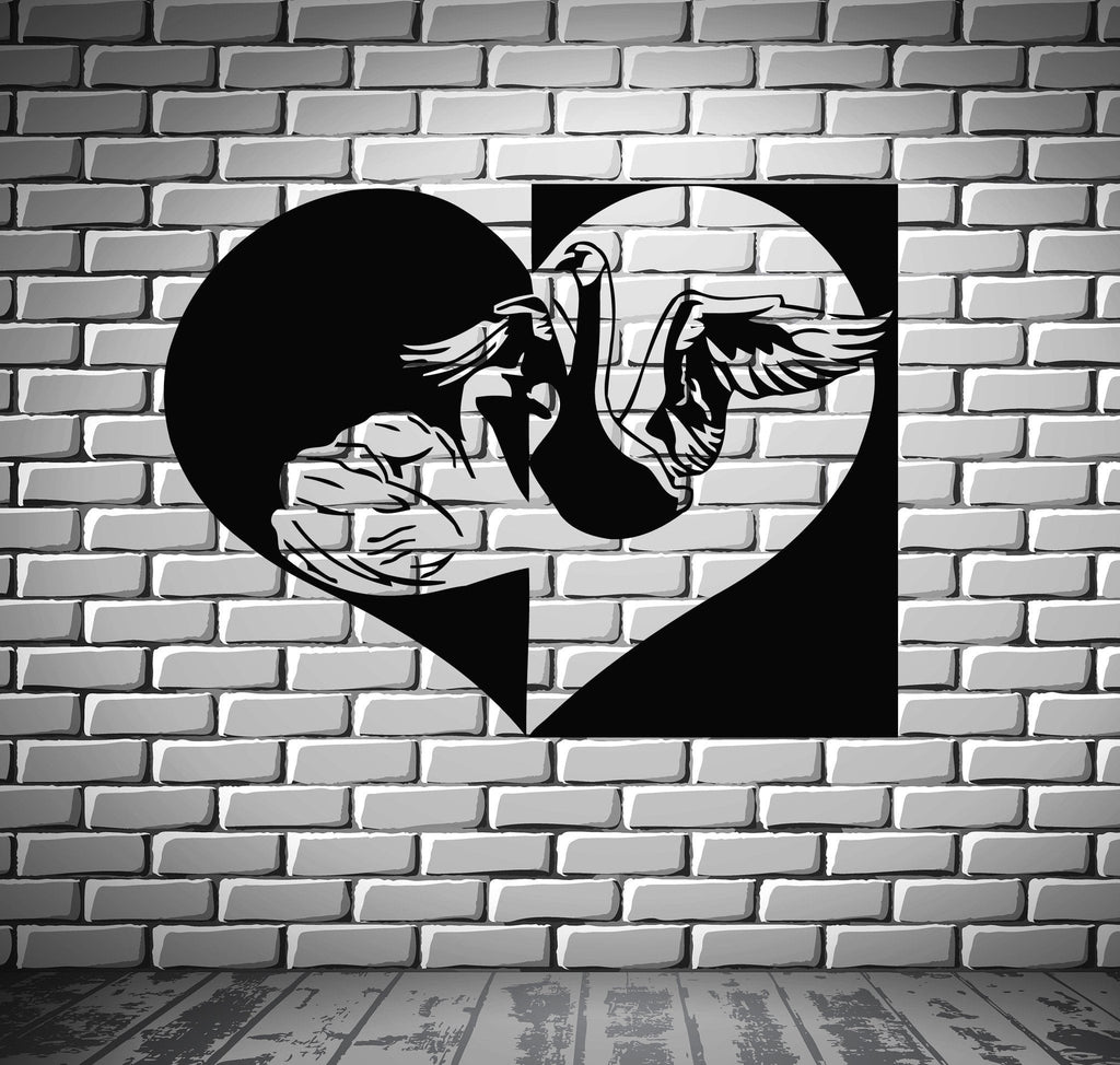 Love Romance Black And White Swan Mural Wall Art Decor Vinyl Sticker Unique Gift z463