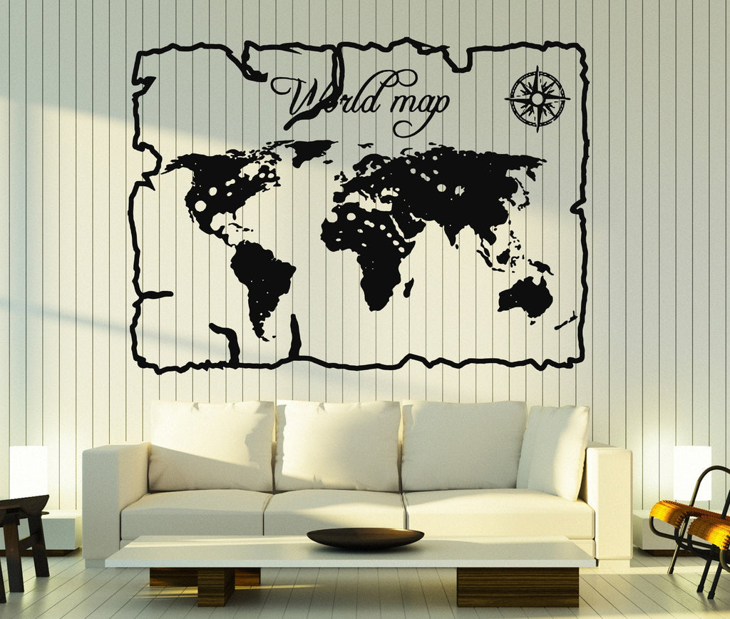 Wall stickers vinyl decal vintage world map compass home decor wall stickers vinyl decal vintage world map compass home decor unique gift z4683 gumiabroncs Image collections