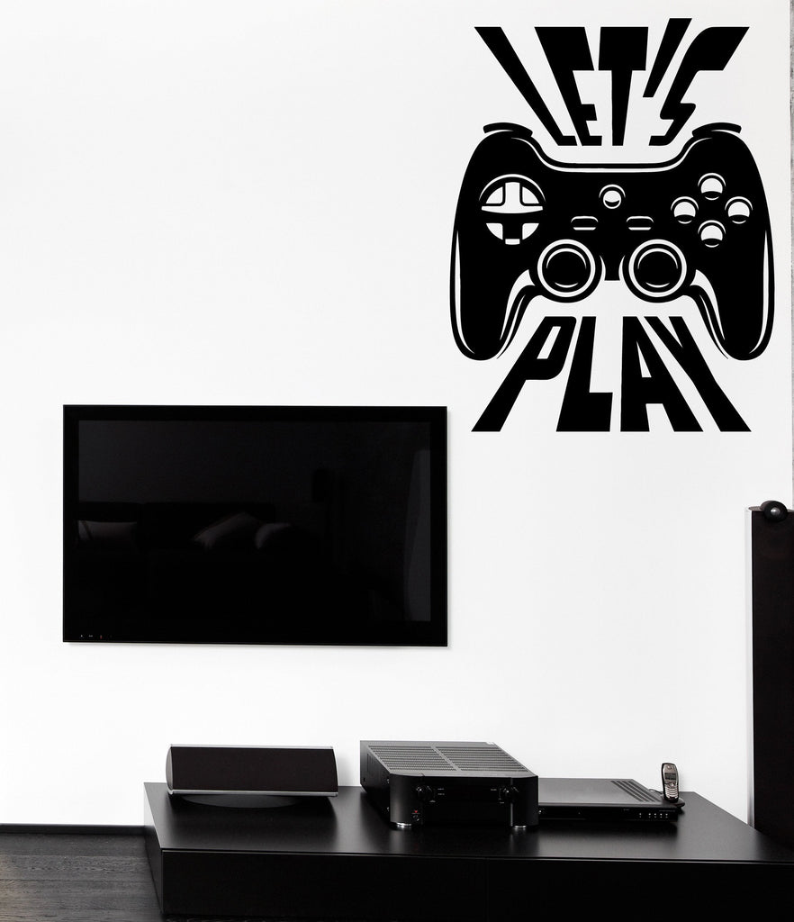 Wall Vinyl Decal Joystick Letu0027s Play Player Game Zone Interior Decor Unique  Gift Z4727