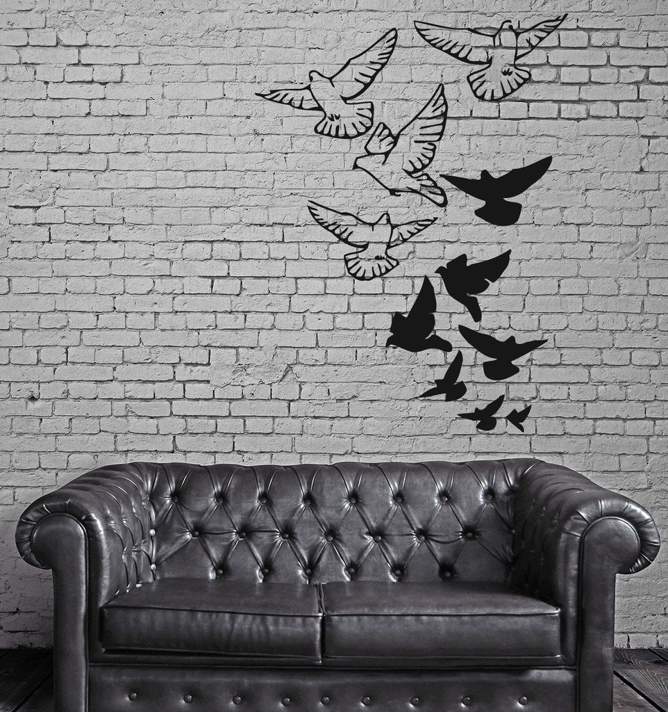 Doves Bird Falling in Love  Romantic  Marriage Wall Art Decor Vinyl Sticker z477