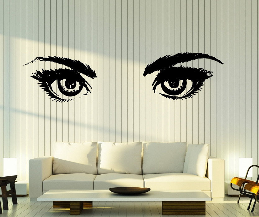 Large Vinyl Decal Wall Women Beautiful Eyes Open Look Eyelashes Unique Gift (z4780)