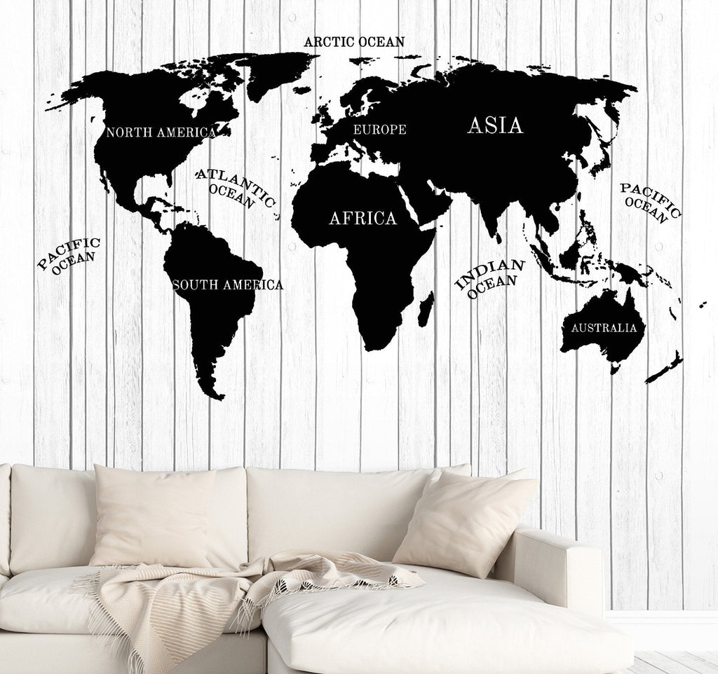 Wall Vinyl Decal World Map Inscriptions Continent Compass Home Decor