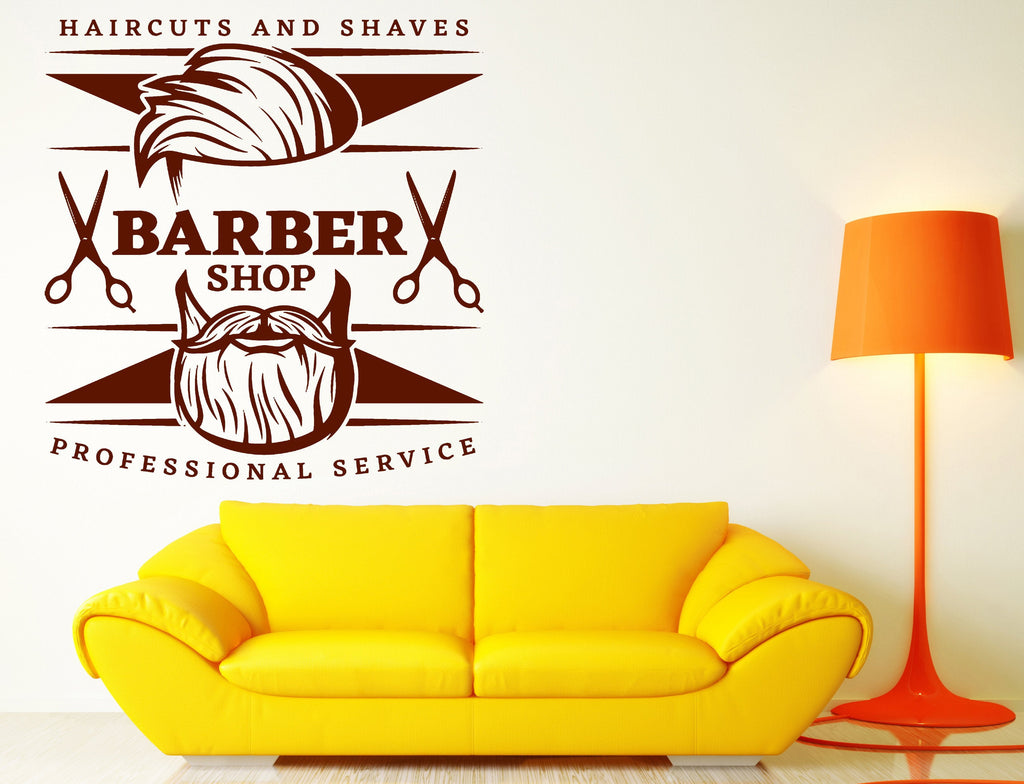 Wall Vinyl Decal Men\'s Haircuts Barbershop Professional Stylist ...