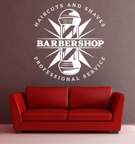lagre wall vinyl decal haircut shaves service barbershop decor unique gift z4817