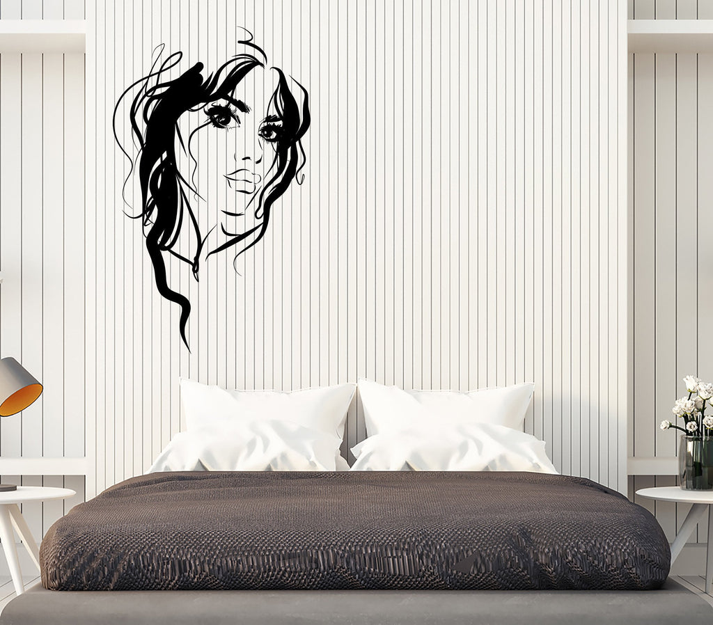 Large Wall Vinyl Decal Beautiful Girl Face Sexy Lips Eyes Hair Interior Decor Unique Gift z4829