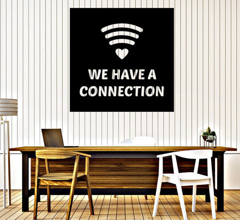 Large Wall Vinyl Decal Wi-fay Icon We Have a Connection Game Salon Decor z4830