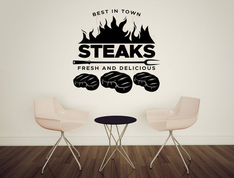 Large Wall Vinyl Decal Restaurant Signboard Steak  Fresh and Delicious z4846