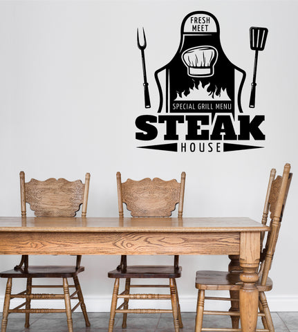Large Wall Vinyl Decal Fresh Meat Special Grill Menu Steak House Decor z4853