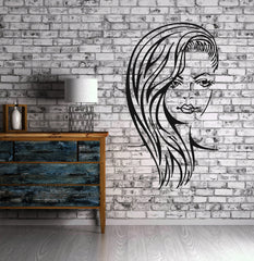 Female Face Sexy Hot  Beauty Spa Hair Salon  Wall Art Decor Vinyl Sticker z487
