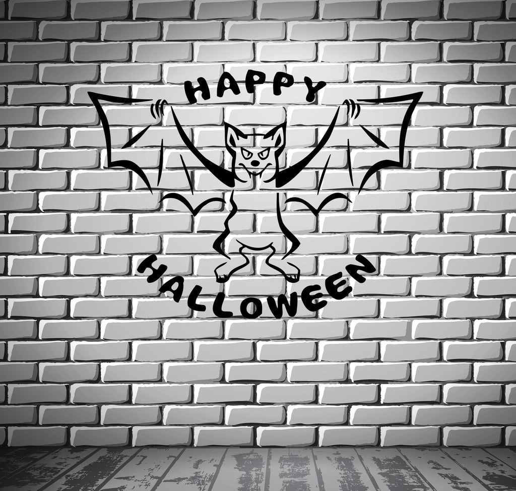 Happy Halloween Bat Night Horror Scary Mural Wall Art Decor Vinyl Sticker Unique Gift z509