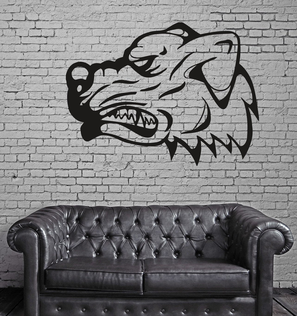 Dog Pitbull Bulldog Face Predator   Mural  Wall Art Decor Vinyl Sticker z560