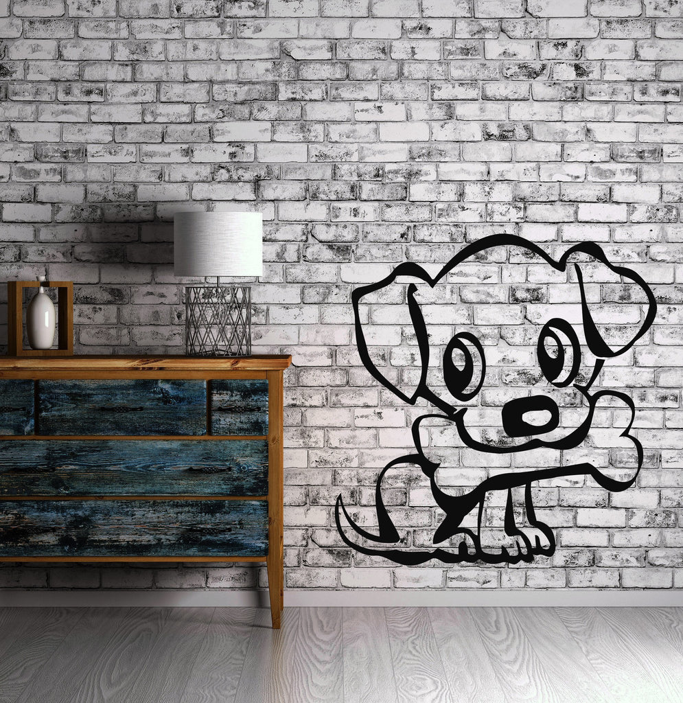 Dog With Bone Animal Kids Puppy  Mural  Wall Art Decor Vinyl Sticker z561