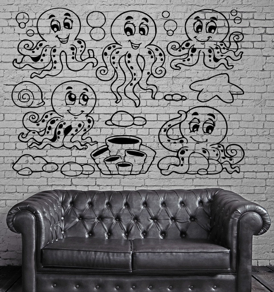 Funny Smiling Octopuses Ocean Marine  Mural  Wall Art Decor Vinyl Sticker z589