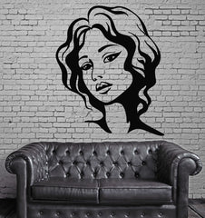 Female Face Hot Sexy Hair Beauty Salon  Mural  Wall Art Decor Vinyl Sticker z591