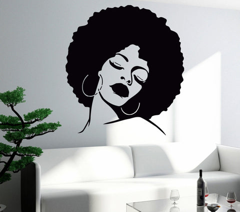 Vinyl Decal Large Wall Sticker Fashion Black Lady Hot Sexy Hair Spa  Salon Unique Gift (z596)