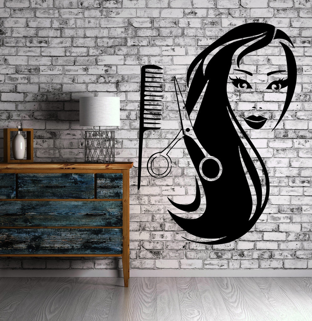 Female Face Hot Sexy Hair Spa Salon Mural Wall Art Decor Vinyl Sticker Unique Gift z597