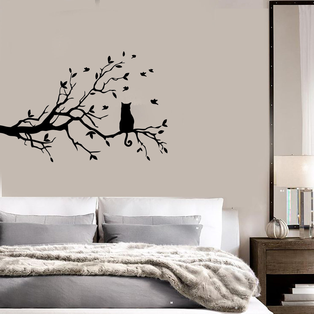 Cat And Tree Floral Pet Dream Positive Mural  Wall Art Decor Vinyl Sticker z651