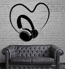 Headphones Sound Music Heart Positive Mural Wall Art Decor Vinyl Sticker Unique Gift z667