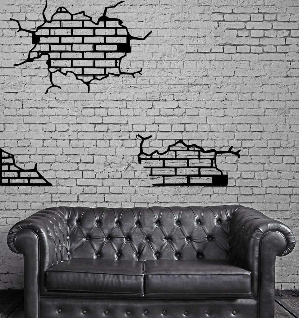 Brick Wall Crack Fracture Upban Decor Mural  Wall Art Decor Vinyl Sticker  z717