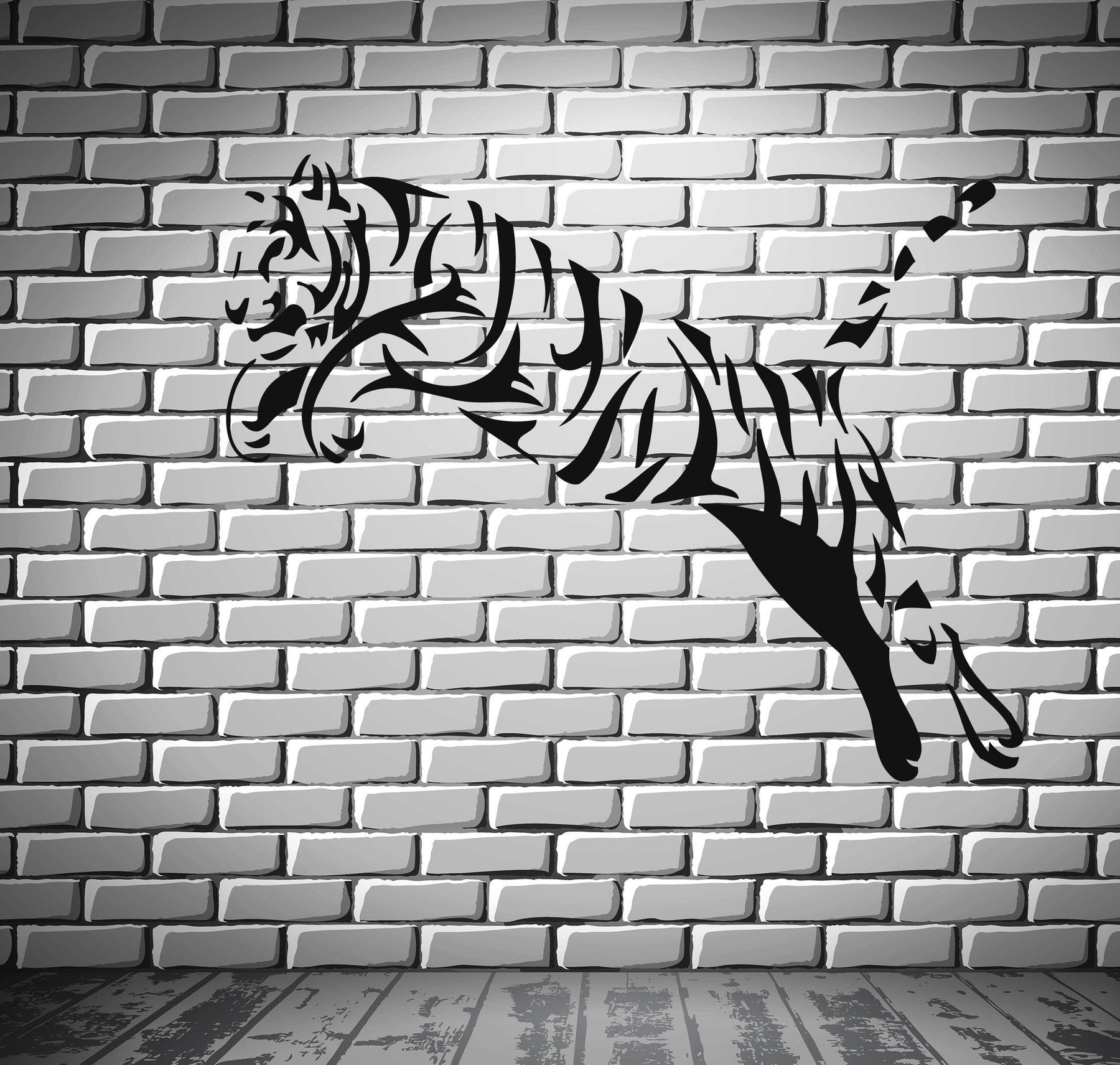 Jumping Tiger Predator AggressiveTribal Decor Wall MURAL Vinyl Art Sticker Unique Gift z785