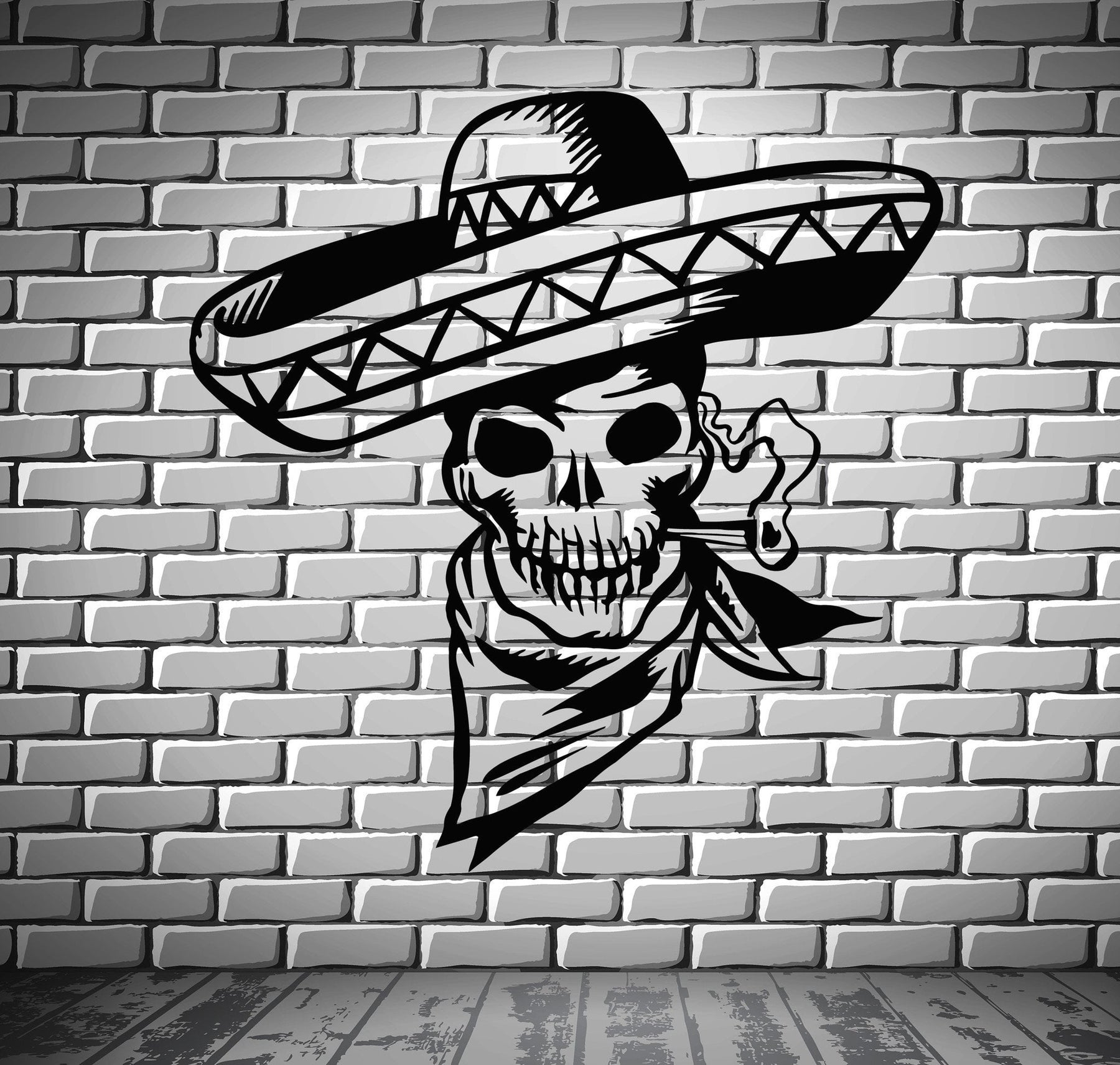 Sombrero Sugar Skull Vinyl Wall Decal Sticker Latin Mexican Brazillian Decor Art