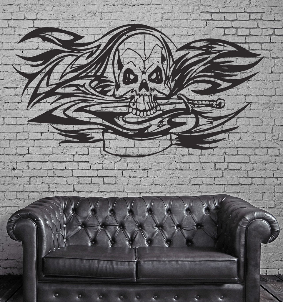 Floral Skull Aggressive Predator Tribal Mural Wall Art Decor Vinyl Sticker z942