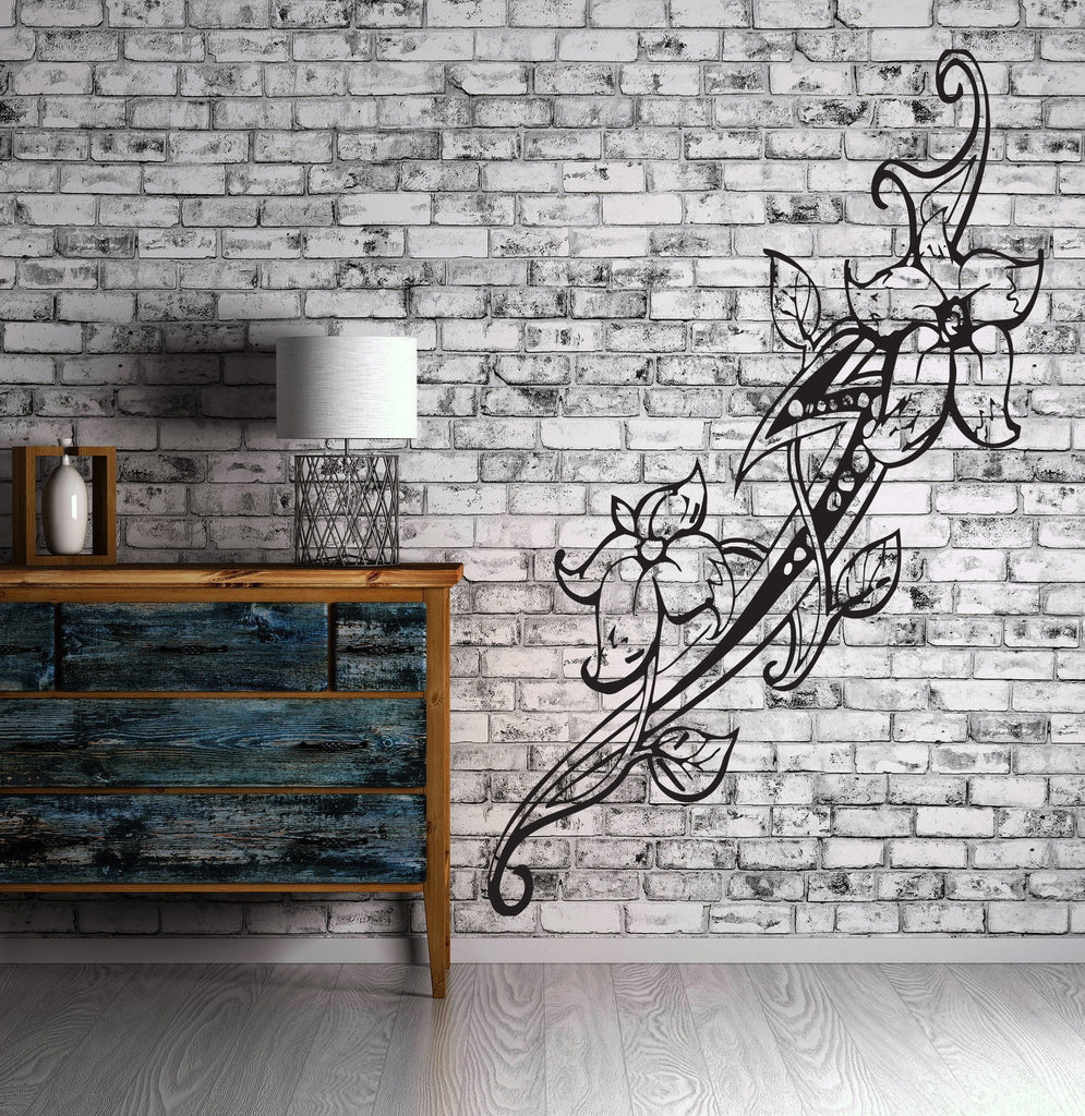 Floral Flower Tatoo Sword Tribal Decor Mural Wall Art Decor Vinyl Sticker  Unique Gift z969