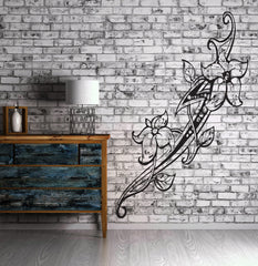 Floral Flower Tatoo Sword Tribal Decor Mural Wall Art Decor Vinyl Sticker  z969