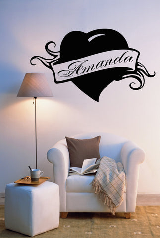 Vinyl Decal Amanda Personalized Name Lettering Custom Wall Art Decor Sticker for Girl's Room (z990)