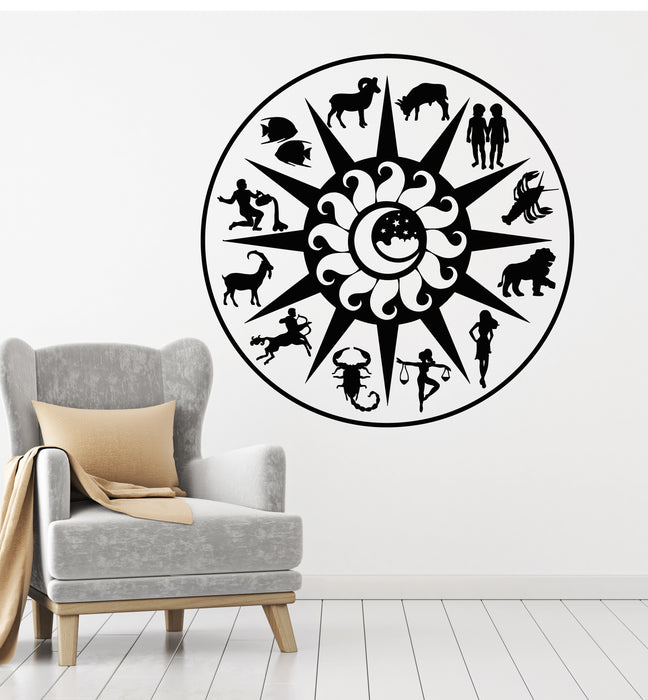 Vinyl Wall Decal Zodiac Signs Astrology Symbols Sun Moon Stickers Mural (g2881)