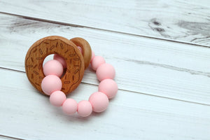 Getting Sew Crafty Pink Silicone Teething Toy with Donut