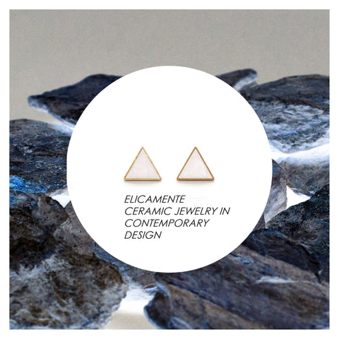 Triangular Earring No.3  /  Ceramic + Brass / WHITE