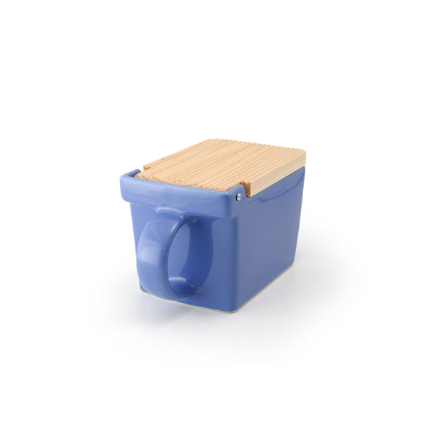 Ceramic Salt Box with wooden lid - 09 Blueberry -