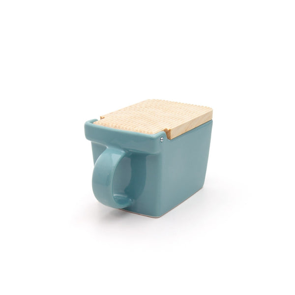 Ceramic Salt Box with wooden lid - 08 Ice Blue -