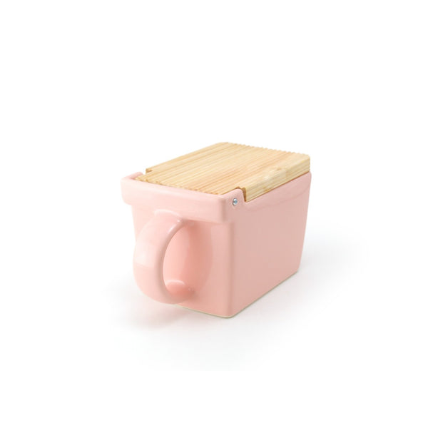 Ceramic Salt Box with wooden lid - 02 Pink -
