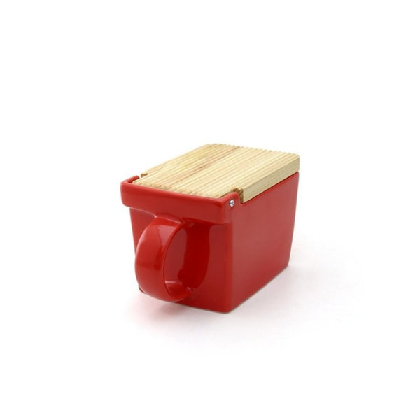 Ceramic Salt Box with wooden lid - 05 Tomato -