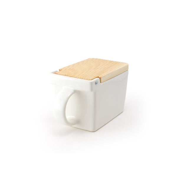 Ceramic Salt Box with wooden lid - 01 White -