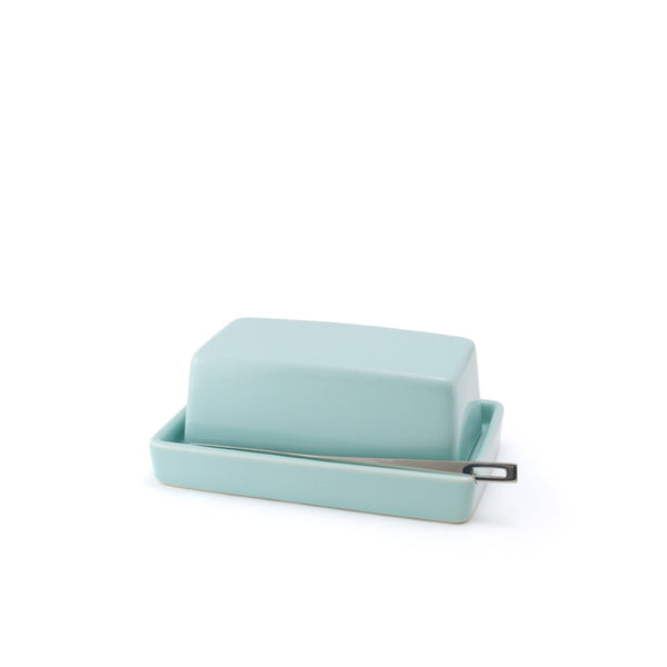 Ceramic Butter Dish with butter knife - Aqua Mist -